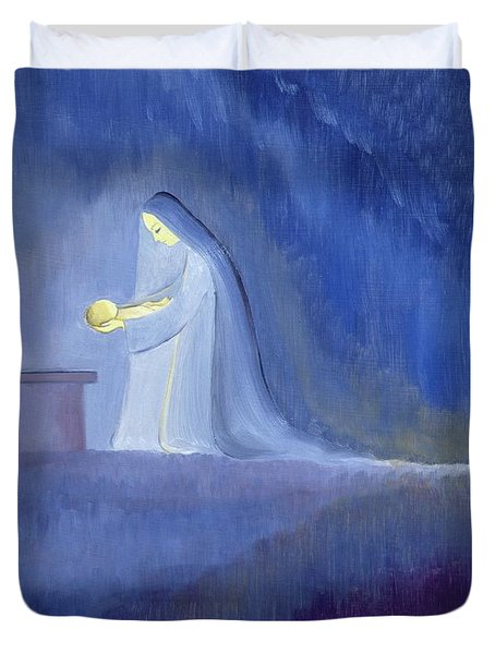 The Virgin Mary Cared For Her Child Jesus With Simplicity And Joy Duvet Cover by Elizabeth Wang