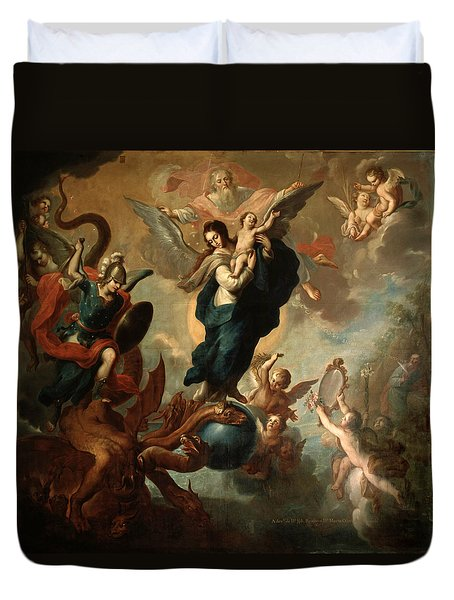 Duvet Cover featuring the painting The Virgin Of The Apocalypse by Miguel Cabrera