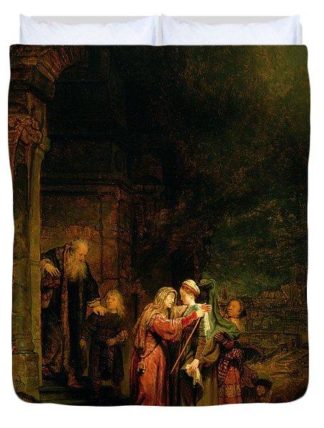 The Visitation Duvet Cover by  Rembrandt Harmensz van Rijn