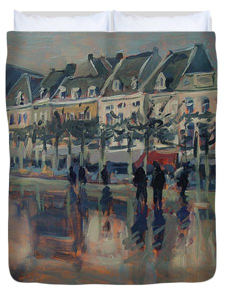 The Vrijthof Just After The Rain In Maastricht Duvet Cover