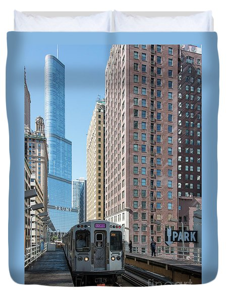 The Wabash L Train At Eye Level Duvet Cover