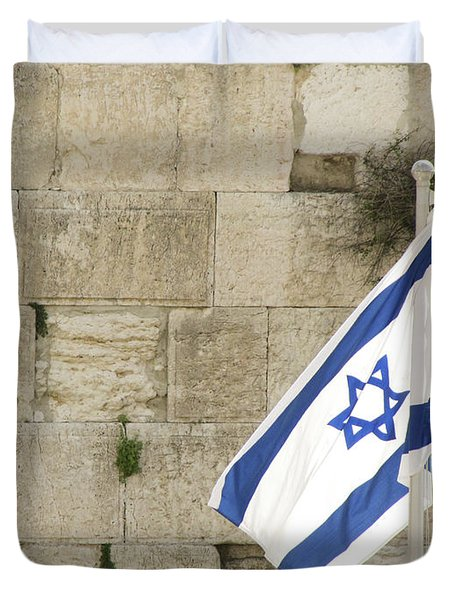 Duvet Cover featuring the photograph The Wailing Wall And The Flag by Yoel Koskas
