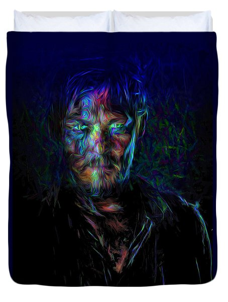 The Walking Dead Daryl Dixon Painted Duvet Cover by David Haskett
