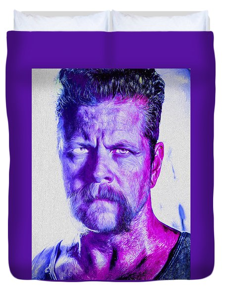 The Walking Dead Michael Cudlitz Sgt. Abraham Ford Painted Duvet Cover by David Haskett