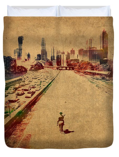 The Walking Dead Watercolor Portrait On Worn Distressed Canvas No 2 Duvet Cover by Design Turnpike