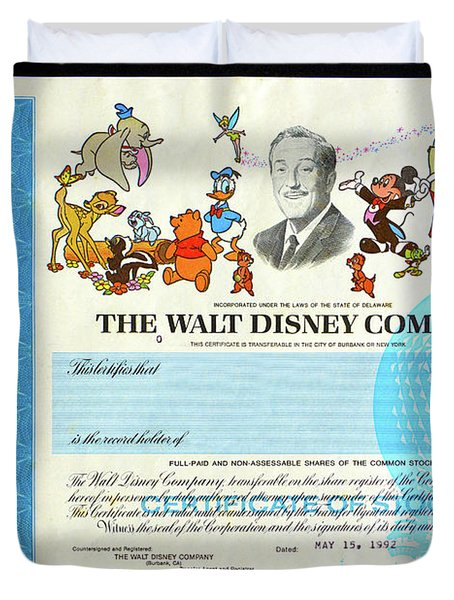 The Walt Disney Company Stock Cert Duvet Cover