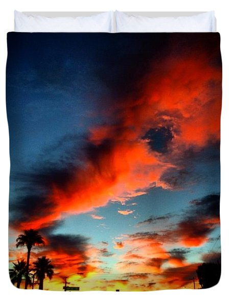 The Warm Glow Of #sunset In #arizona Duvet Cover