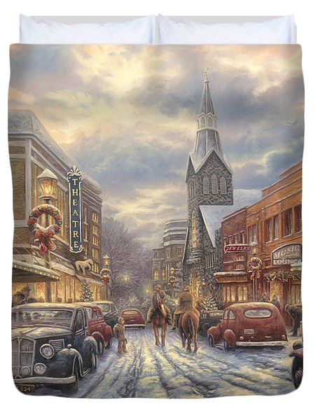 The Warmth Of Small Town Living Duvet Cover