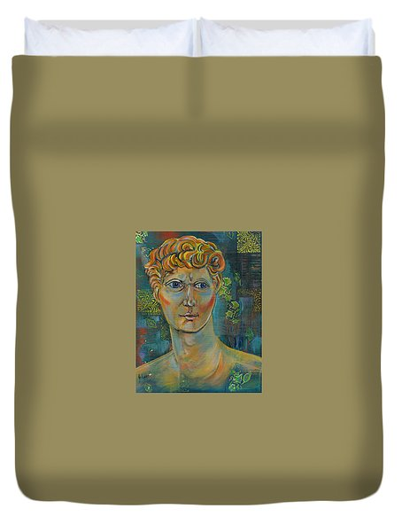 Duvet Cover featuring the painting The Warrior by John Keaton