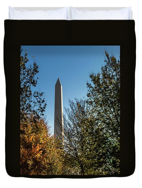 The Washington Monument In Fall Duvet Cover