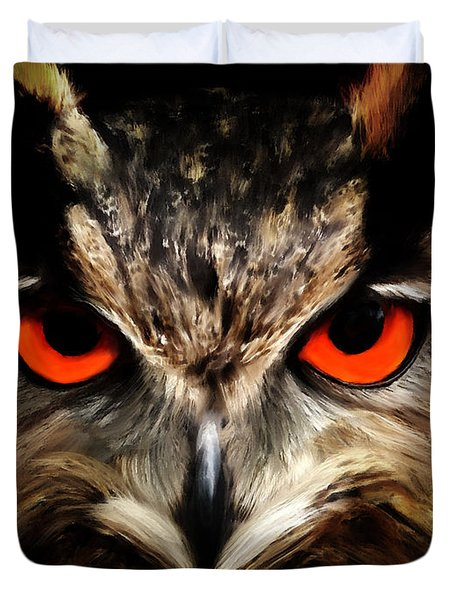 The Watcher - Owl Digital Painting Duvet Cover