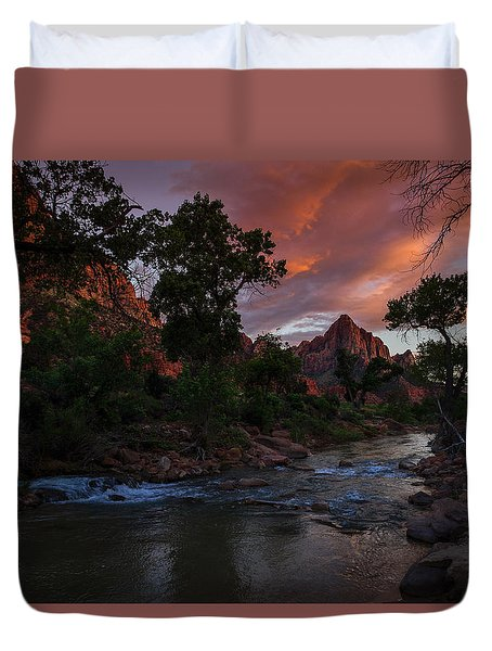 The Watchman Along The Virgin River Sunset Duvet Cover
