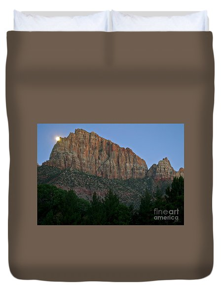 Duvet Cover featuring the photograph The Watchman And The Moon by Suzette Kallen