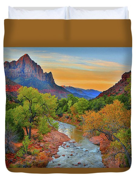 The Watchman And The Virgin River Duvet Cover