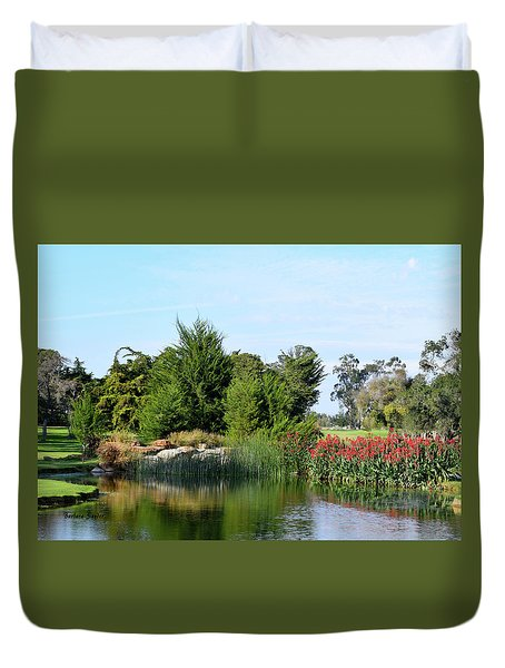 Duvet Cover featuring the photograph The Water On Number One Santa Maria Country Club by Barbara Snyder