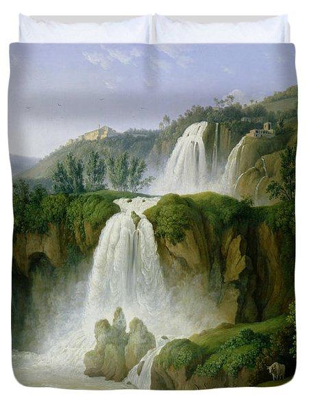 The Waterfall At Tivoli Duvet Cover by Jacob Philippe Hackert