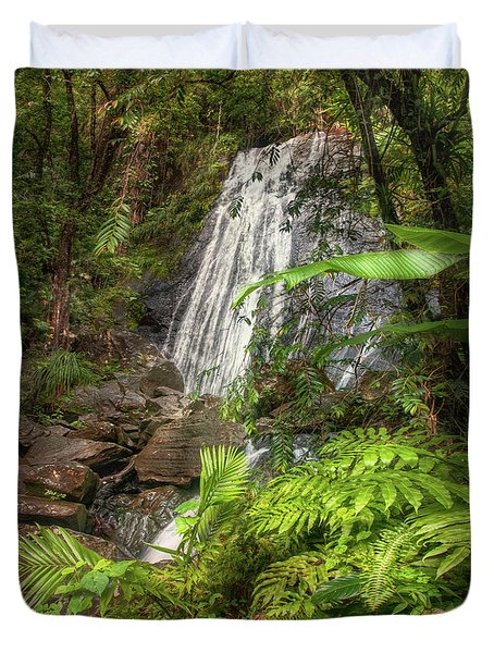 Duvet Cover featuring the photograph The Waterfall by Hanny Heim
