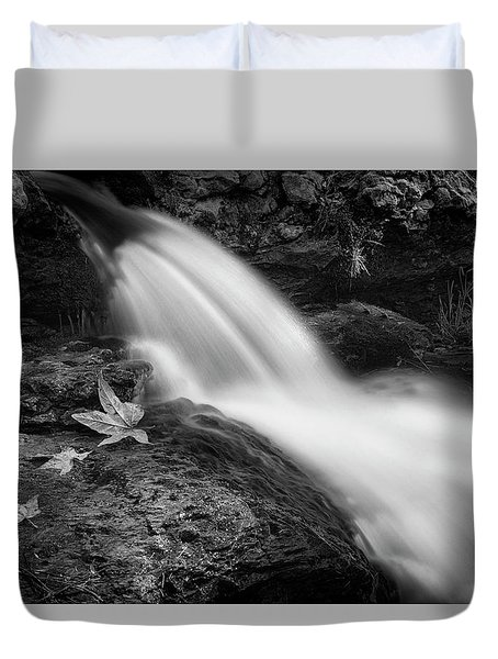 Duvet Cover featuring the photograph The Waterfall In Black And White  by Saija Lehtonen
