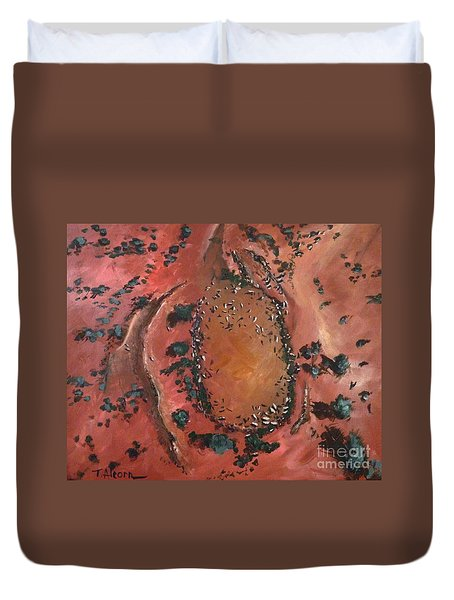 Duvet Cover featuring the painting The Watering Hole - Original Sold by Therese Alcorn