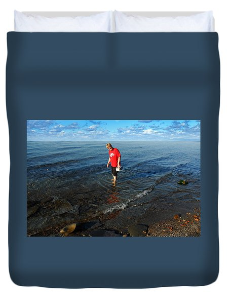 Duvet Cover featuring the photograph The Water's Fine by Lena Wilhite