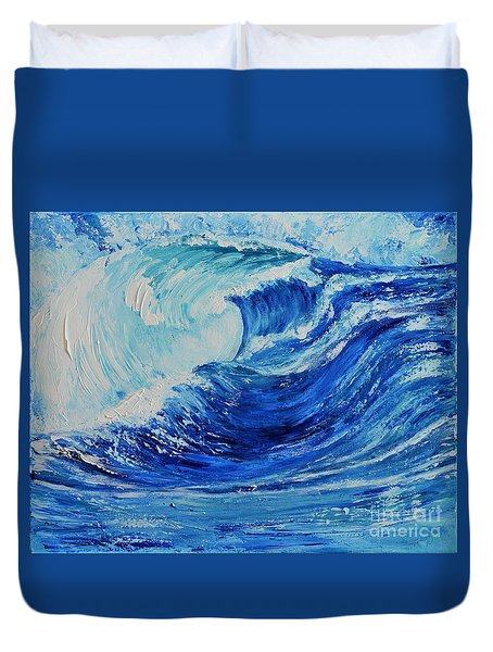 Duvet Cover featuring the painting The Wave by Teresa Wegrzyn