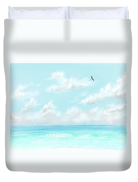 Duvet Cover featuring the digital art The Waves And Bird by Darren Cannell