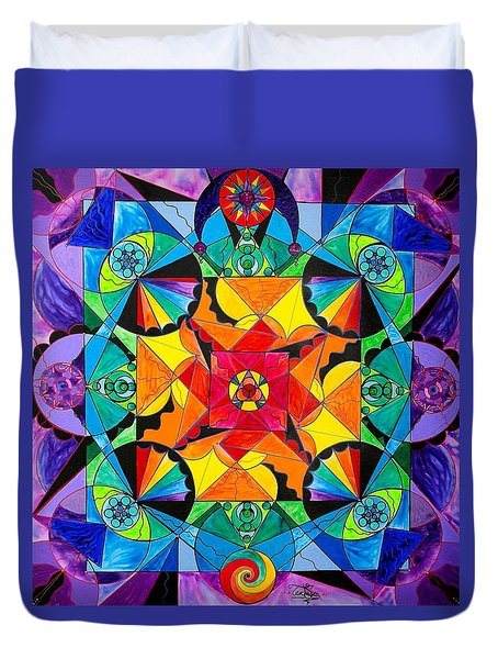 The Way - Arcturian Blue Ray Grid Duvet Cover