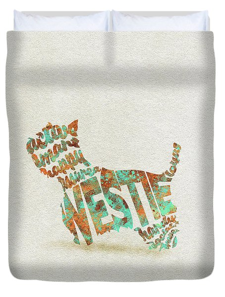 Duvet Cover featuring the painting The West Highland White Terrier Watercolor Painting / Typographic Art by Inspirowl Design