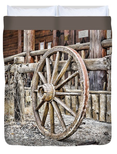 The Wheel Rolls On Duvet Cover by B Wayne Mullins