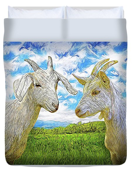 The Whispers Of Goats Duvet Cover by Joel Bruce Wallach