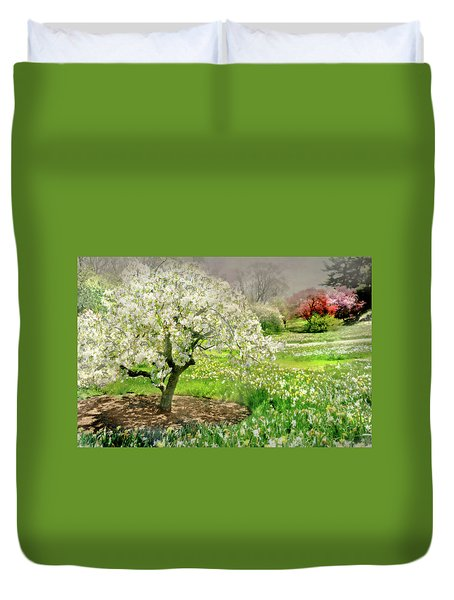 Duvet Cover featuring the photograph The White Canopy by Diana Angstadt