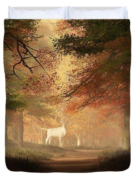 The White Elk Duvet Cover by Daniel Eskridge