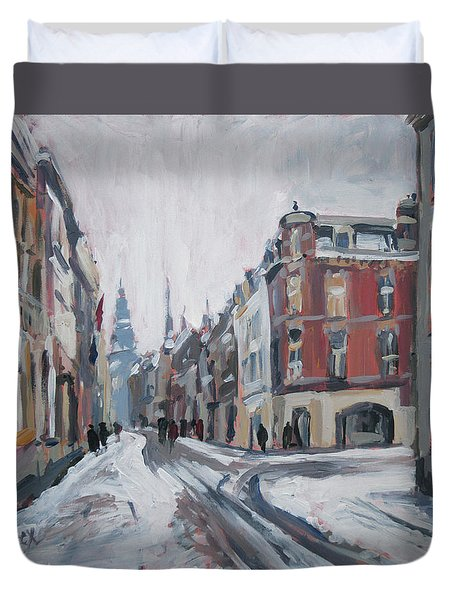 The White Grand Canal Street Maastricht Duvet Cover