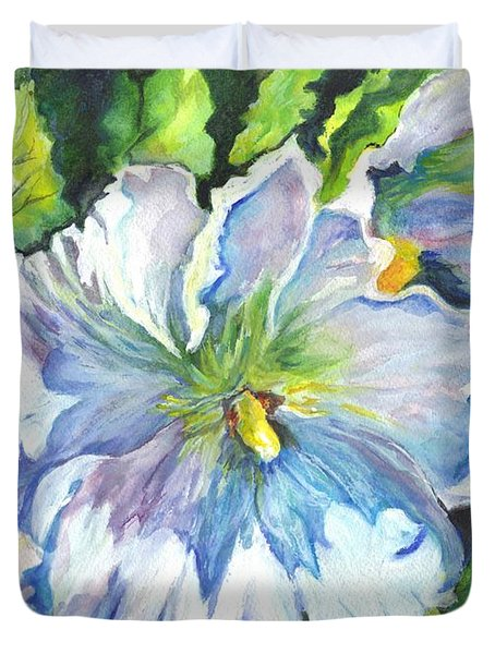 The White Hibiscus In Early Morning Light Duvet Cover by Carol Wisniewski