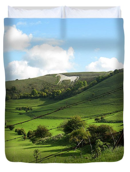 The White Horse Westbury England Duvet Cover by Kurt Van Wagner