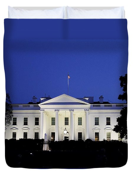The White House At Night Duvet Cover