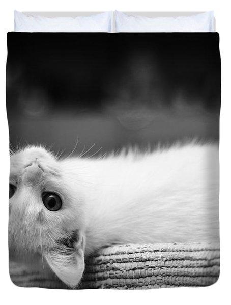 The White Kitten Duvet Cover