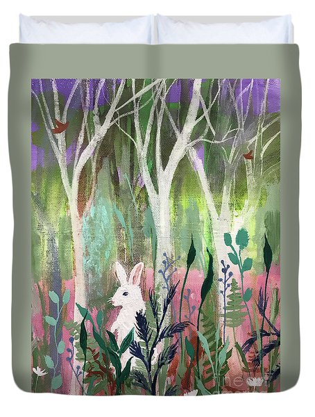 Duvet Cover featuring the painting The White Rabbit by Robin Maria Pedrero