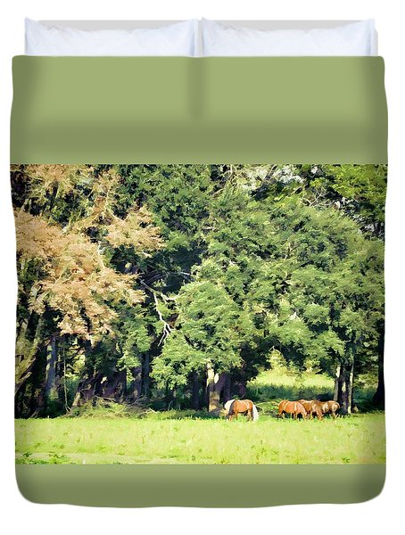 Duvet Cover featuring the photograph The White Stallion by Jan Amiss Photography