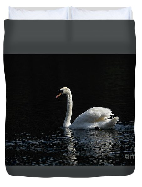 The White Swan Duvet Cover by David  Hollingworth