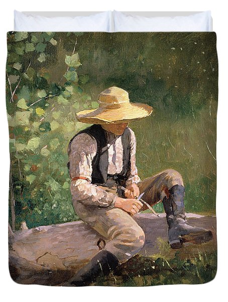 The Whittling Boy Duvet Cover by Winslow Homer
