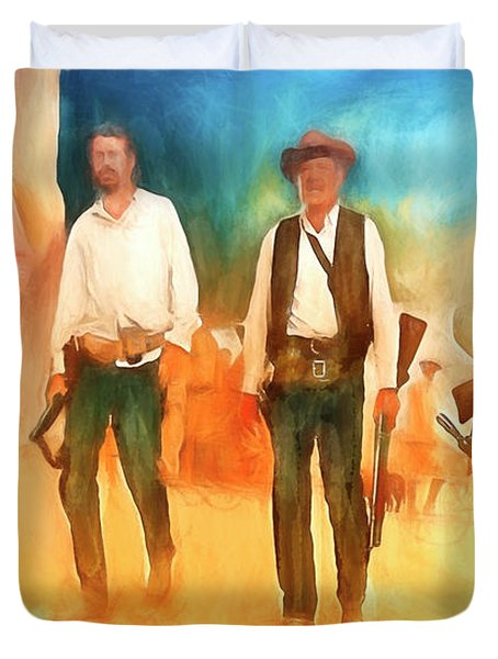 Duvet Cover featuring the painting The Wild Bunch by Michael Cleere