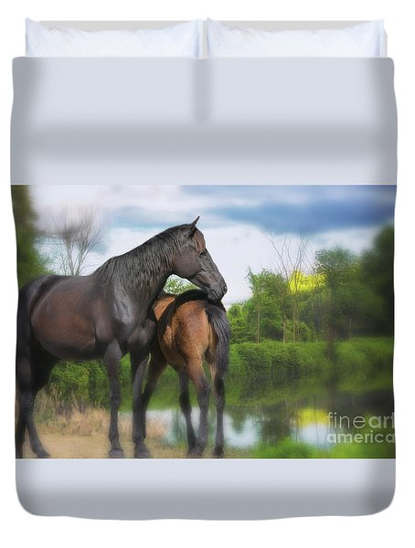 The Wild Horses Of La Chura Trail Duvet Cover