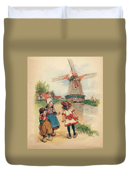 The Windmill And The Little Wooden Shoes Duvet Cover