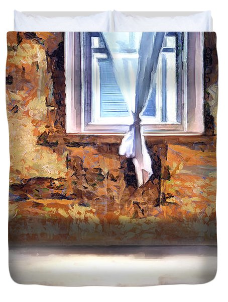 Duvet Cover featuring the digital art The Window by Pennie McCracken