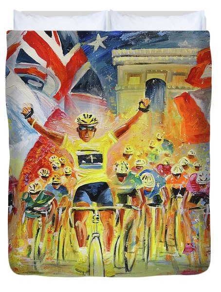 The Winner Of The Tour De France Duvet Cover