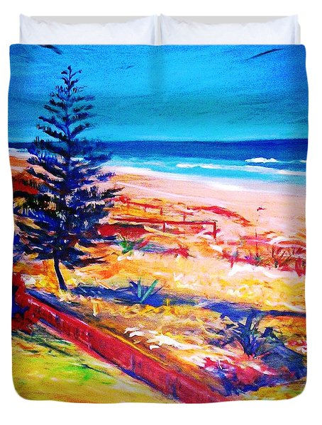 Duvet Cover featuring the painting The Winter Dunes by Winsome Gunning