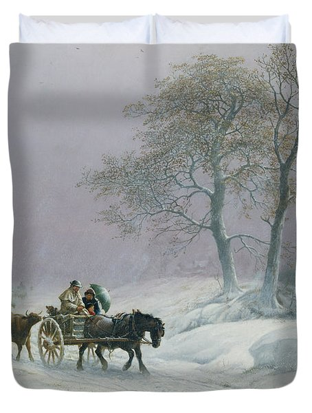 The Wintry Road To Market  Duvet Cover by Thomas Sidney Cooper