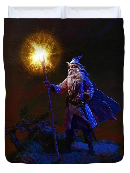 The Wise Old Wizard Duvet Cover by Dave Luebbert