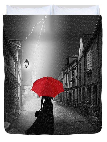 The Woman With The Red Umbrella Duvet Cover by Monika Juengling